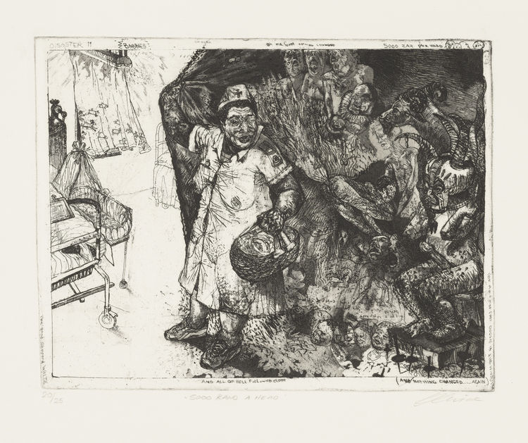 "Diane Victor (South African, born 1964). <i>5000 Rand a Head</i> (2001) from the series Disasters of Peace. 2001–present. One from a portfolio of sixteen etching, aquatint, and drypoints with roulette, plate: 8 7/16 × 11 9/16"". Image courtesy MoMA."