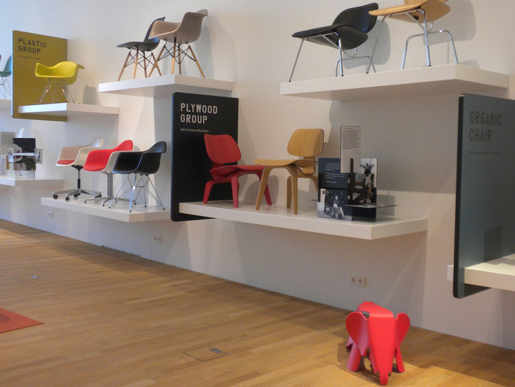 One section of the VitraHaus is dedicated entirely to the Eameses. Among the chairs on display: the LCW molded plywood lounge chairs designed in 1945/46 and the RAR Rocking Chair designed in 1950.
