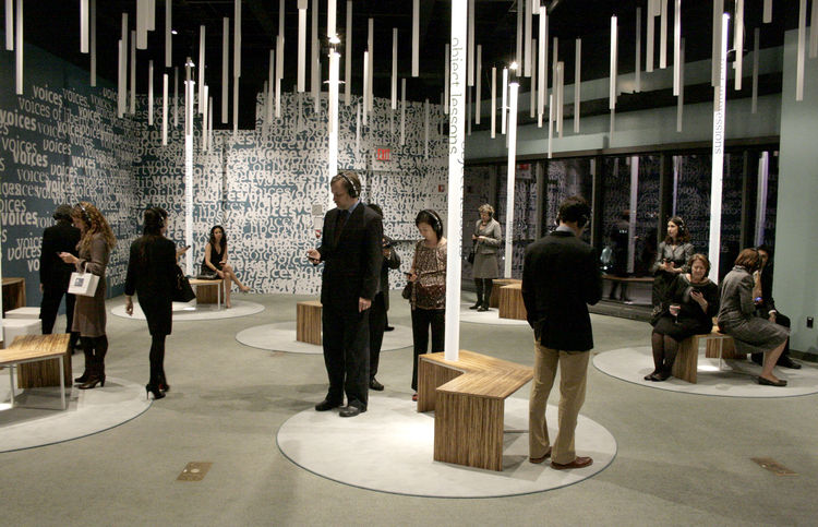 One of the finalists for the Interaction Design Award was Potion, a New York-based design and technology firm. Shown here is the group's 2009 <i>Voices of Liberty</i> instillation at the Museum of Jewish Heritage in New York. Photo by Phillip Tiongson/Pti