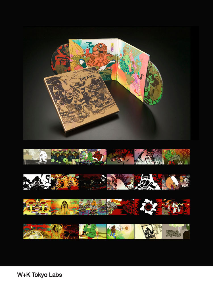 Pictured here, album covers created by John Jay's advertising agency Wieden+Kennedy. Art by Mahro, Solobongnu-sensei.