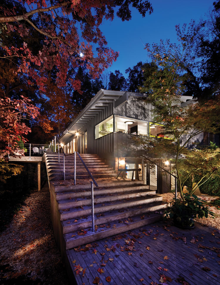 "The Wheeler house, designed by <a href=""http://www.cherryhuffman.com/"">Cherry Huffman Architects</a> is a positive demonstration of an ongoing client-architect relationship and rests downhill from the street on a secluded, wooded site."