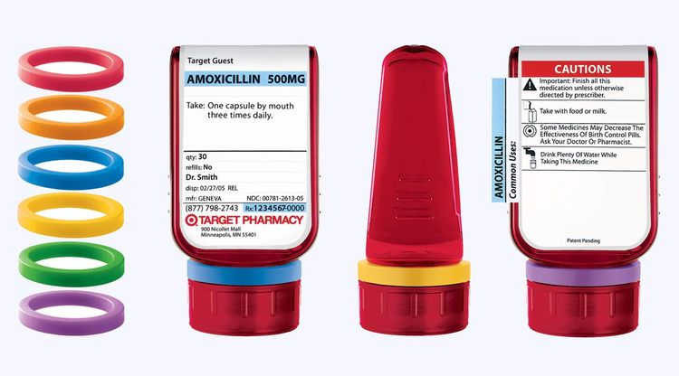 Target ClearRx Prescription Bottles designed in 2005 by Deborah Adler and Klaus Rosburg. Made of polyethylene terephthalate and paper. Manufactured by Setco, Inc.