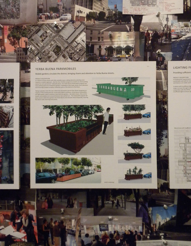 This square at the exhibition explains the concepts behind the Parkmobiles. Other projects include dog parks and dog runs in alleys, public art in the streets and mural on retaining walls, alleyway signage, signature lighting throughout the district, new