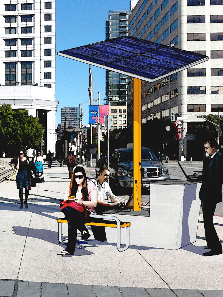 This rendering shows details of the Clean Energy Public Docking Station project. Here, solar panels would power public outlets and wireless connections and the supporting structure would offer seating and work spaces.