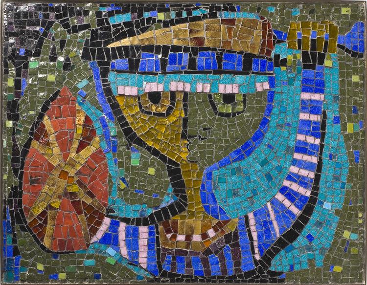 <i>Young Warrior</i>, glass-tile mosaic, Evelyn Ackerman, 1955.