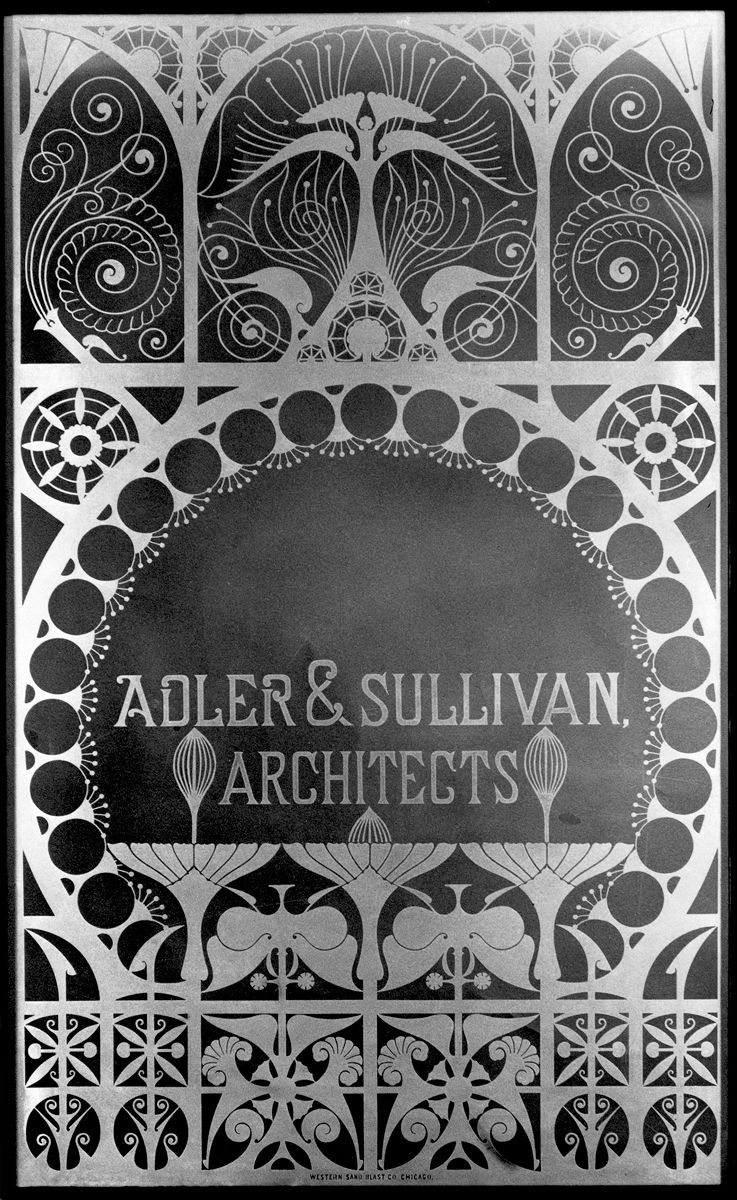 "Glass window panel from the firm of Adler & Sullivan. Photo courtesy of <a href=""http://www.richardnickelcommittee.org/"">The Richard Nickel Committee and Archive</a>."