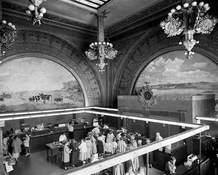 "Banking room of the National Farmers' Bank, Owatonna, Minnesota, built 1907-1908. Photo courtesy of <a href=""http://www.richardnickelcommittee.org/"">The Richard Nickel Committee and Archive</a>."