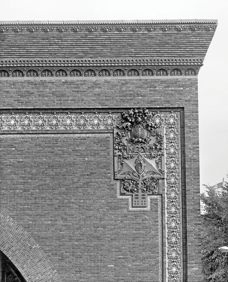 "Detail of the cornice and exterior ornament on the National Farmers' Bank, Owatonna, Minnesota, built 1907-1908. Photo courtesy of <a href=""http://www.richardnickelcommittee.org/"">The Richard Nickel Committee and Archive</a>."