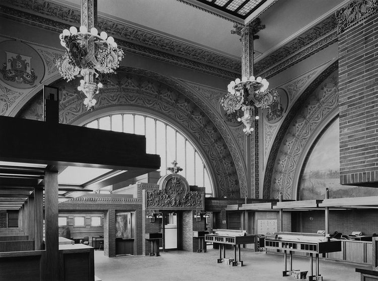 "Interior of the National Farmers' Bank, Owatonna, Minnesota, built 1907-1908. Photo courtesy of <a href=""http://www.richardnickelcommittee.org/"">The Richard Nickel Committee and Archive</a>."