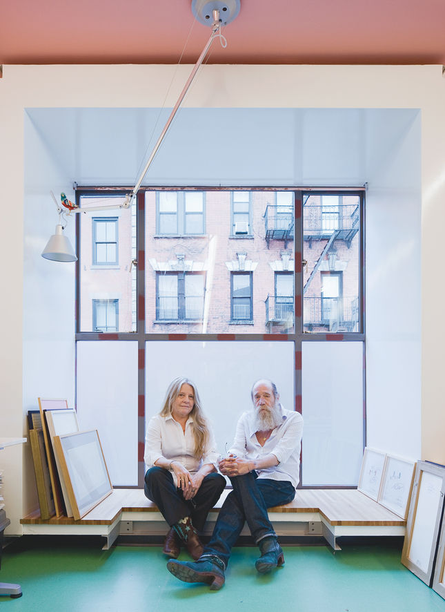 Conceptual artist Lawrence Weiner and his wife Alice commissioned LOT-EK to renovate their three-story rowhouse in the West Village, creating both living and studio space. LOT-EK is known for using reclaimed and industrial materials in their work, and thi