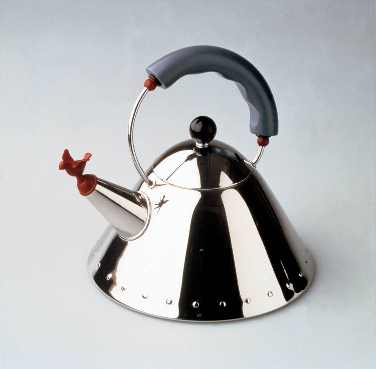 The 9093 kettle, conceived by architect Michael Graves in 1985, was the first item by an American to be included in Alessi's catalogue. With its telltale '80s Deco-revival accents and bird whistle, the kettle remains Alessi's best-selling item.