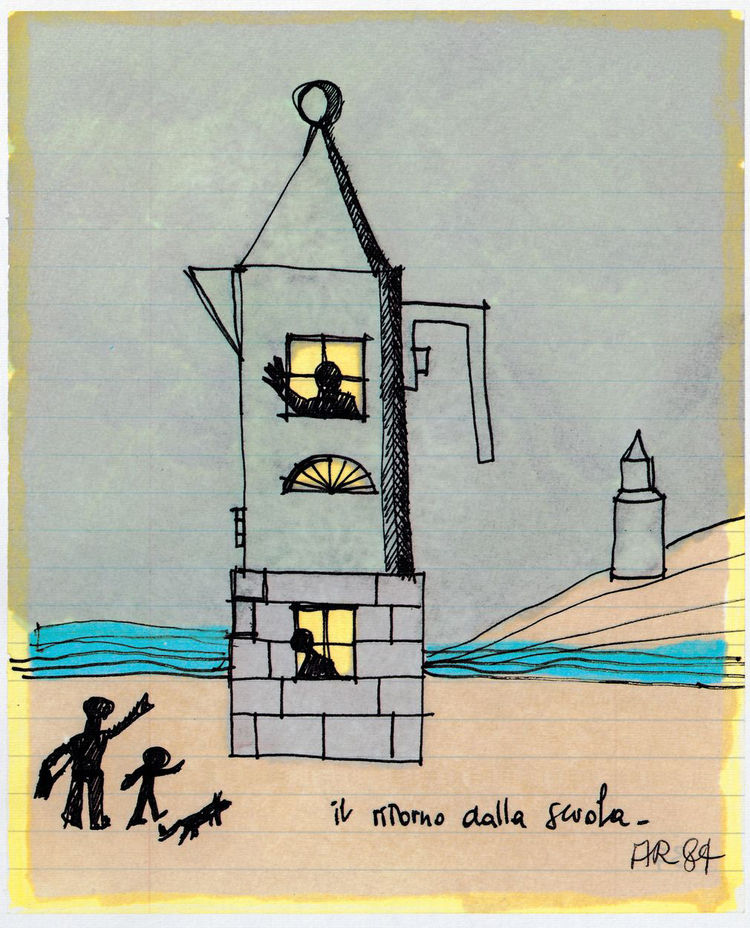 Pritzker Prize–winning Italian architect Aldo Rossi (1931–1997), who designed among many other buildings the Bonnefantenmuseum in Maastricht, sketched his La Conica espresso machine (1980–1983) in 1984 as a haven for children returning home from school.