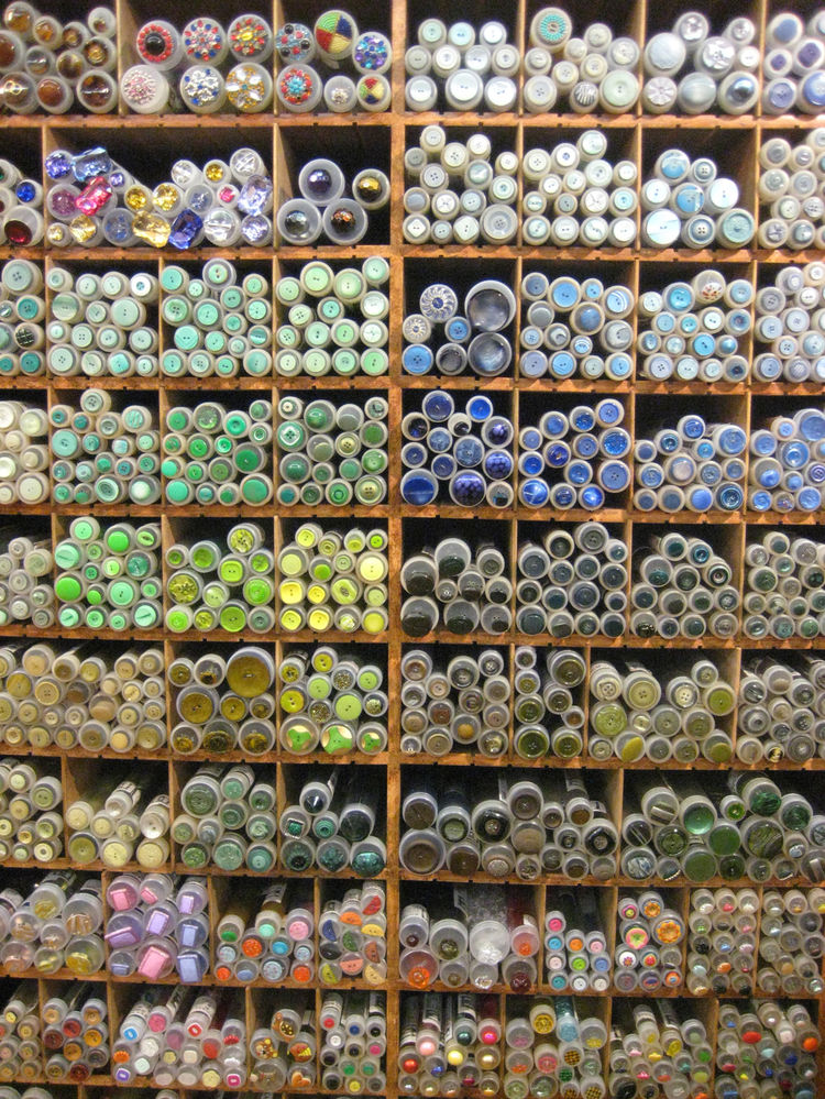 Buttons galore. Impossible not to get jazzed about sewing these babies on anything and everything, as there's a an epic bounty of colors, shapes, and styles, in ever medium—bone, wood, plastic enamel—imaginable.
