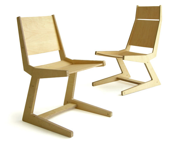 Angled Plywood Chairs, or APC, designed in 2007. It won second place that year in the National Design Biennial, Mexico City. Constructed of birch plywood and FSC-certified formaldehyde-free maple and walnut.