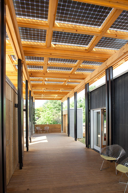 Along the large porch/breezeway are bifacial solar panels (and a few Bertoia chairs). The panels collect direct sunlight from above and reflected light from below to increase the amount of energy created, which compensates for the flatness of the roof (no