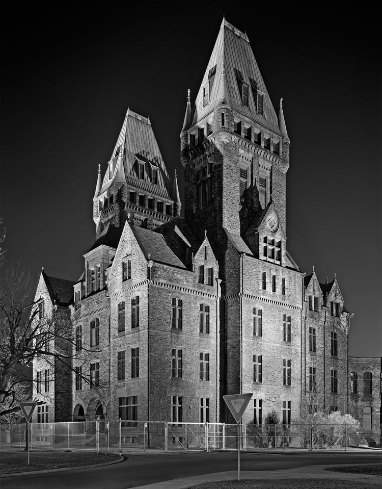 A night shot of Buffalo State Hospital in New York is foreboding at best, terrifying at worst.