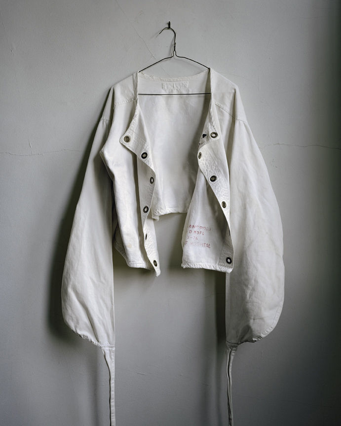 This straitjacket from Logansport State Hospital in Logansport, Indiana, is typical of what was used to constrain patients.