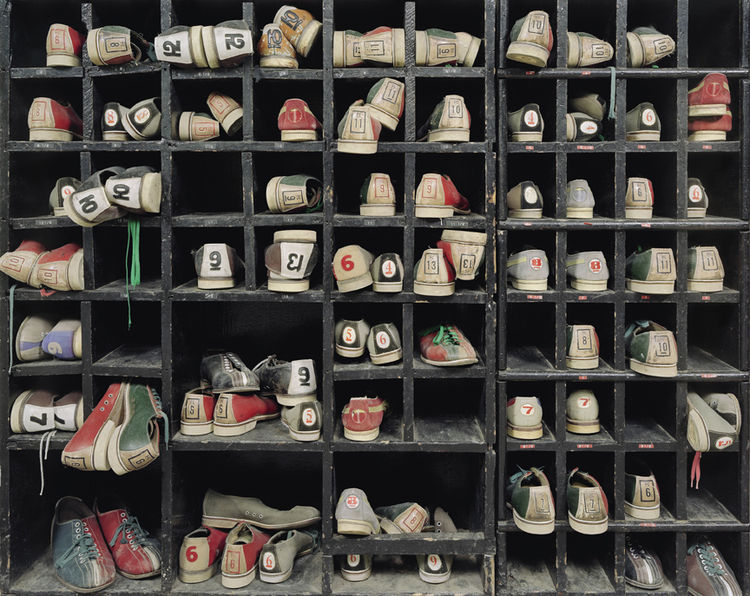 Apparently Rockland State Hospital in Orangeburg, New York, had a bowling alley, replete with a battery of old shoes.