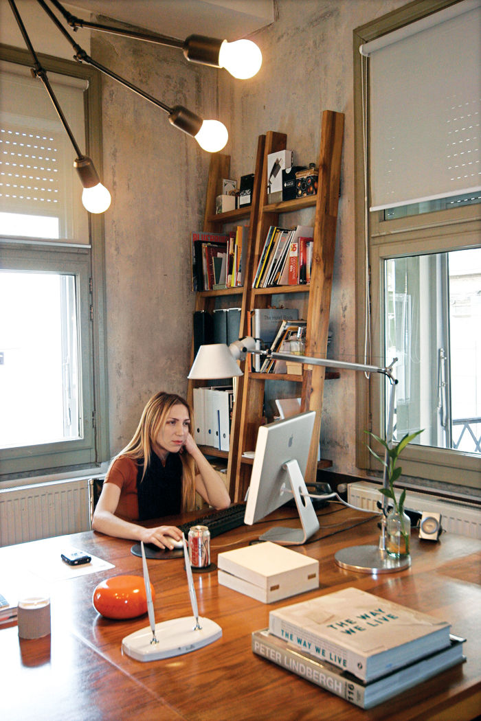 Özdemir works at her desk, conveniently just a few blocks from her flat.