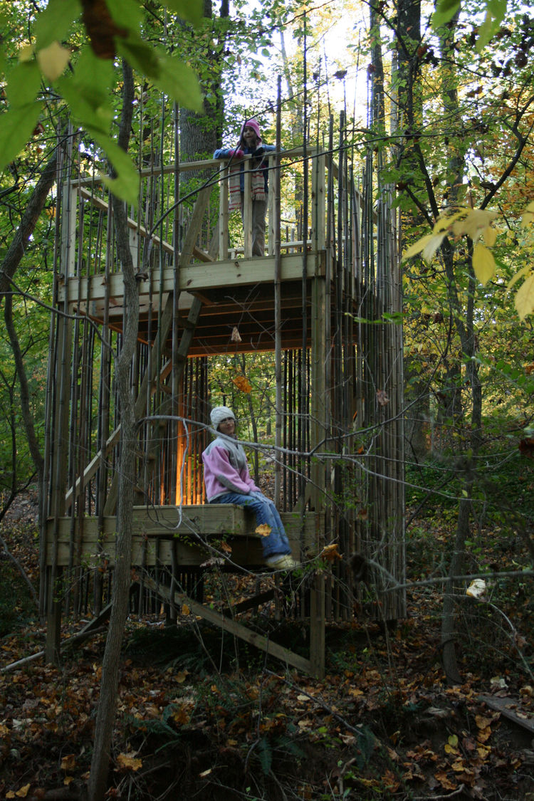 """The girls use it all the time,"" Stubb says. ""There are ropes tied to it and they climb the rope ladder or use a swing to climb down into the adjacent ravine. Abigail plays house and makes food with mud and leaves."" Abigail isn't the only one serving up a"