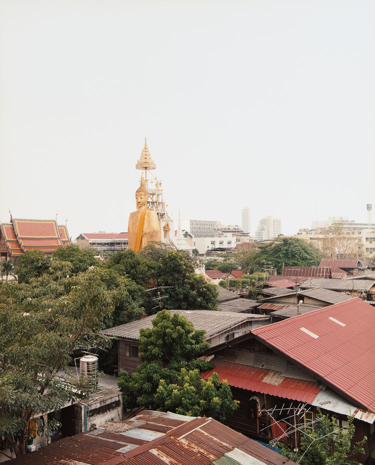 There are buddha statues and then there are Buddha Statues, like this 200-foot-tall standing buddha, viewed from the roof of the Phra-Nakron Norn-Len Hotel.