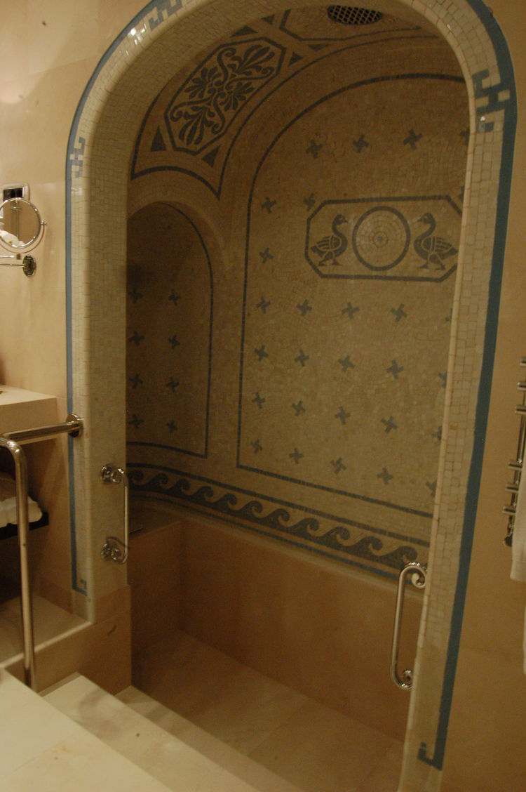 Inside the Dali Suite, there's a Roman bath that's original to the building. I've never seen anything like it—you can fill it up with water and make a little mini swimming pool. The hotel director said that the bath alcove had been boarded up for several