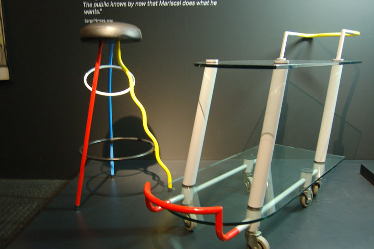 Mariscal's furniture designs for the postmodern Memphis design and architecture group, created in the early 1980s, convey his exuberant sensibilities. The Duplex Bar Stool, left, and the Hilton Trolley Serving Cart, right.