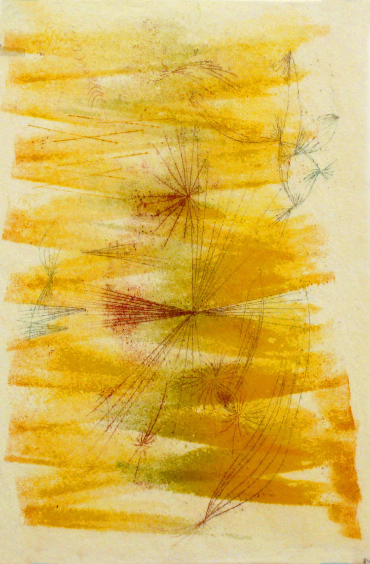 """The works on paper that are featured in the exhibition are all monotypes, which is an unusual form of printmaking as it produces only one unique print rather than an edition,"" says Murphy. ""Bertoia created these monotypes in an even more unusual way. He"