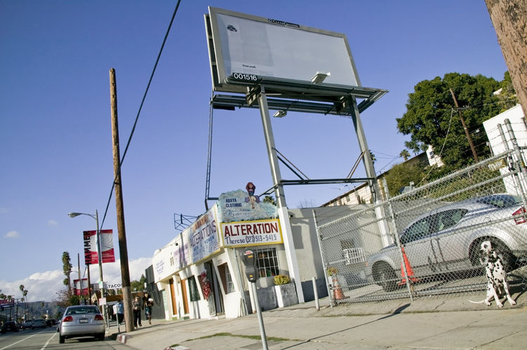 Conceptual art pioneer Michael Asher's billboard was tagged by graffiti artists and had to be moved. You can see it now at Sunset Boulevard, east of Micheltorena. Photo by Patricia Parinejad.