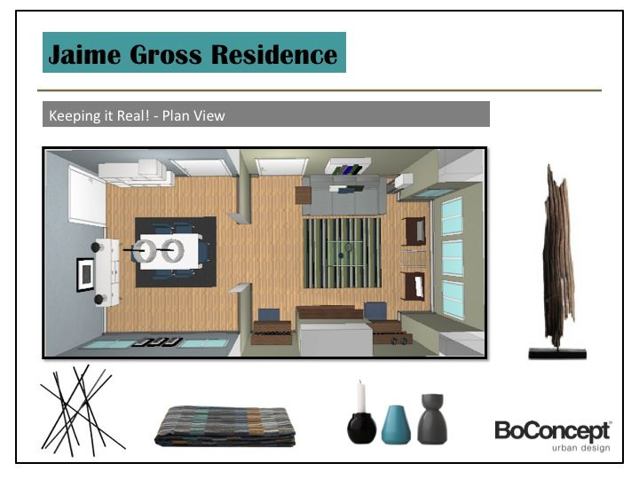 """Here's the first image in the slideshow, showing a plan view of the $12,000 """"Keeping it Real"""" transformation. Christoper worked up the floor plan in BoConcept's proprietary 'Furnish' software program. It's pretty rudimentary but it does give a sense of sp"""