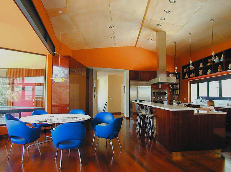 """""""The Carter House is in Mandeville Canyon in Los Angeles and is a kitchen for an avid cook. The appliances were each selected for their performance, without regard for whether or not the handles matched. When we designed the house we met at the clients' p"""