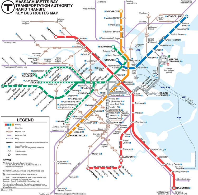<h3>Boston</h3> The typical European layout of Boston put a requirement on a hybrid map of both rail and bus routes, says Ken Dumas, designer of Boston's Massachusetts Bay Transit Authority rapid transit map, most recently updated in 2010. Boston's touris
