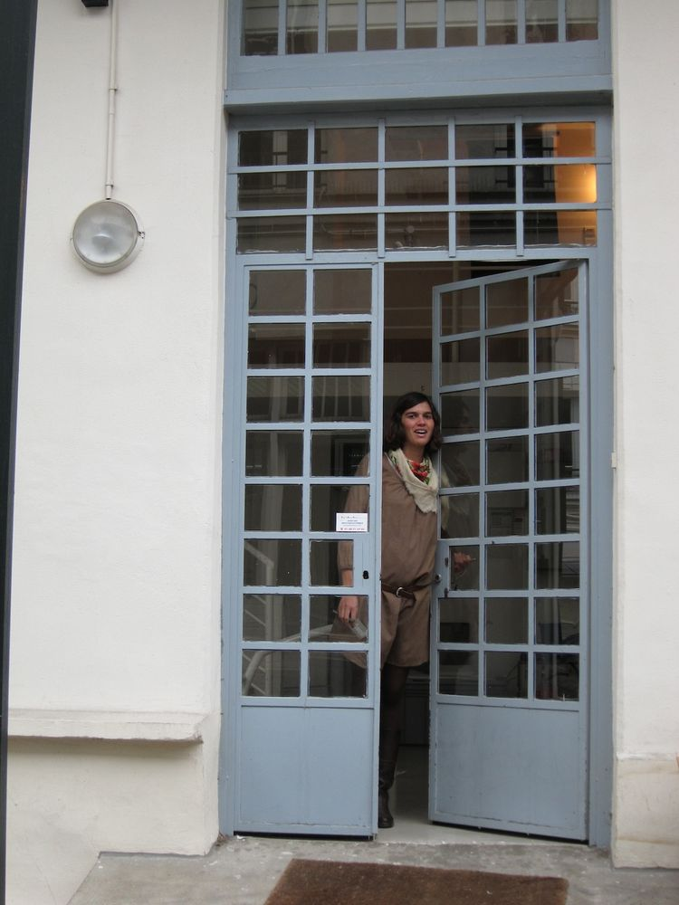 """After a lovely and inspiring visit, Fanny, the Bouroullec's office manager, bids me adieu.<br /><br /><p><em><strong>Don't miss a word of Dwell! Download our </strong></em><a href=""""http://itunes.apple.com/us/app/dwell/id411793747?mt=8""""><em><strong> FREE a"""