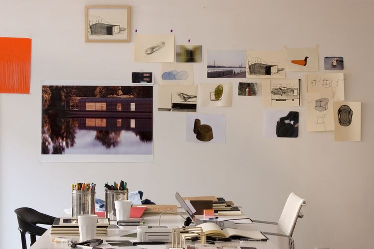 Here is the desk where the brothers work, with inspiration images and drawings pinned to the wall.<br /><br />Photo: © Ronan et Erwan Bouroullec.