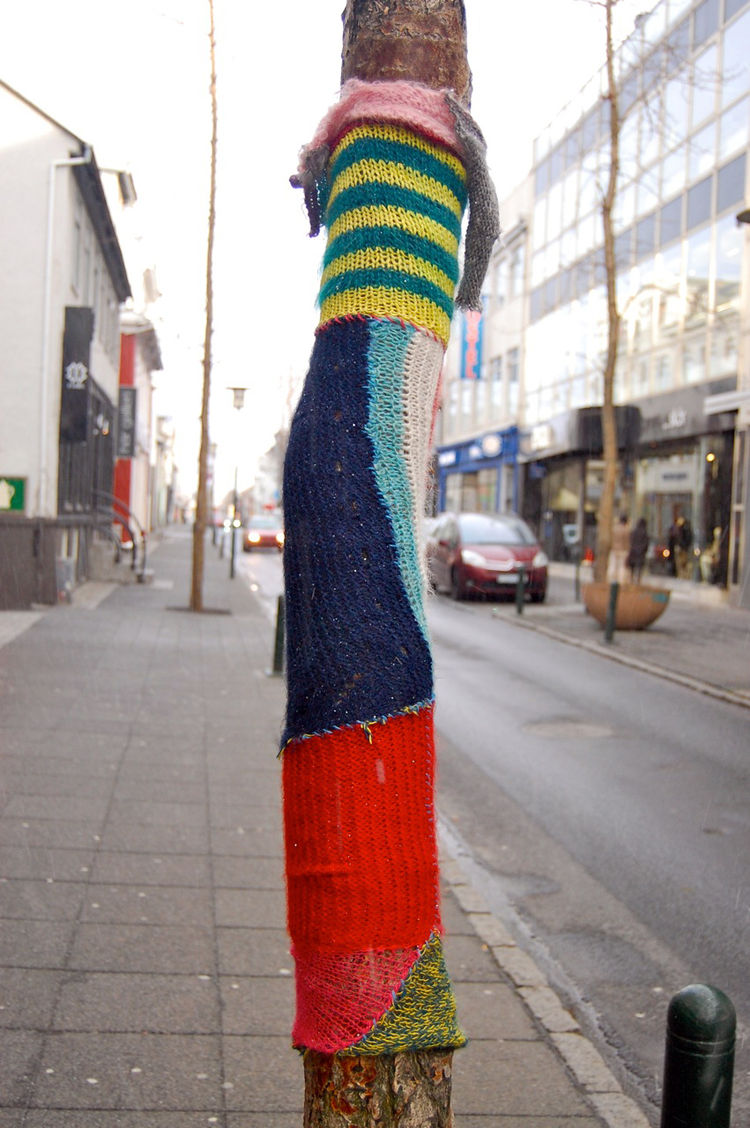 There were also examples of knit graffiti in Reykjavik, like this tree, not painted, but covered in a colorful sheath.