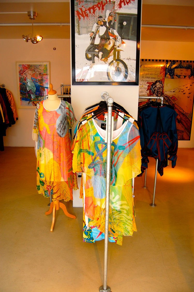 Brightly colored womens' clothing.