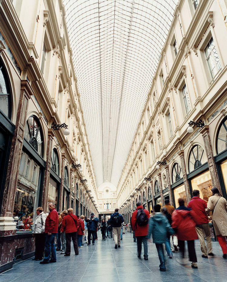 The Galeries Saint-Hubert are the forerunner to the modern shopping mall. Constructed in 1847, they were the first glass-covered shopping arcades in Europe.