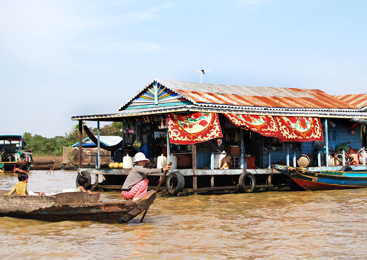 For the most part, living on the water is very harsh -- there is no sanitation or drinking water connections, and little electricity. (According to one fisherman, a government boat comes by once a week with a charger so that villagers can recharge their l