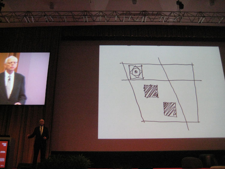 Cersaie's keynote speaker was SOM architect David Childs, whose firm was chosen to head-up the plans for reconstruction of the World Trade Center. In this sketch, he showed how the design for the new Freedom Tower and 9/11 memorial would bring the downtow