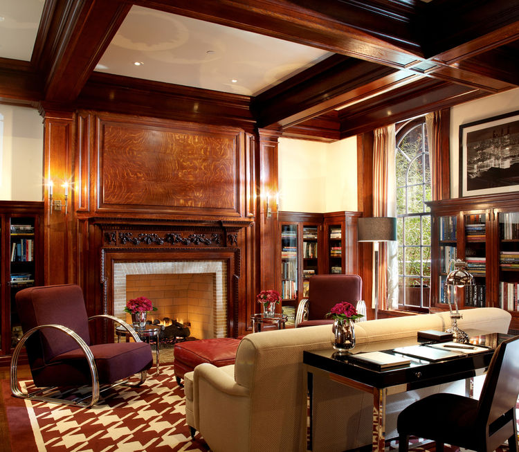 """Along with his """"contemporary historic"""" interventions, Despont worked closely with New York's Landmarks Preservation Commission to restore the interior's significant protected elements. Initially the Lambs Club library, the newly christened Stanford White"""