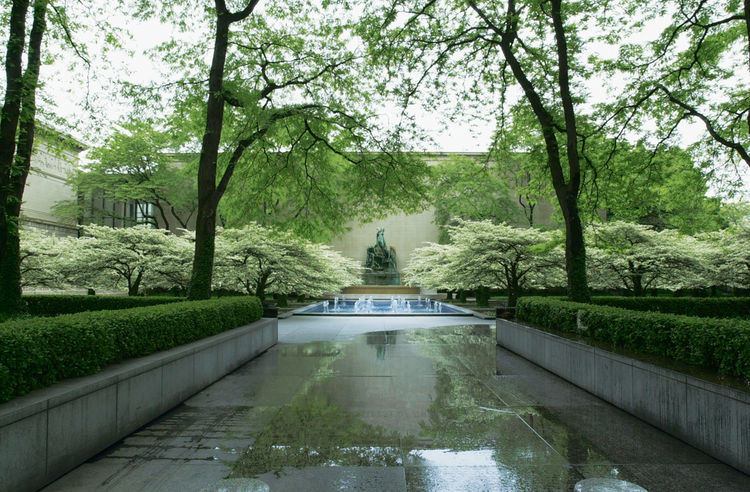 "Art Institute of Chicago garden, 1962, Chicago, IL, Dan Kiley ""Built over a garage, it's quintessential Kiley and another great response to the automobile culture. There's a central fountain, raised planters on the grid, and limited plant materials—primar"