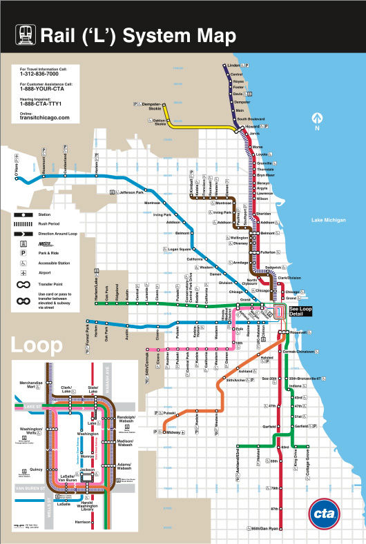 "<h3>Chicago</h3> There's boldness—almost an industrial feel—to Chicago's original ""L"" map, not much different from both the city and the actual ""L"" train at the time. But as the city has become less industrial, so has the map. When Dennis McClendon design"