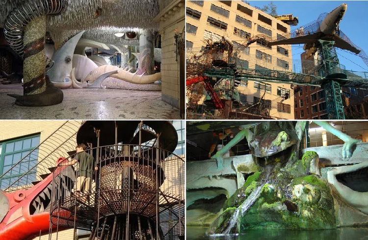 More dragons can be found at the City Museum in St. Louis Missouri, a surrealistic playscape made of recycled materials inside and outside a 600,000 square foot former shoe warehouse. There are watery lairs, Steampunk hallways, pipe organs, an eight foot