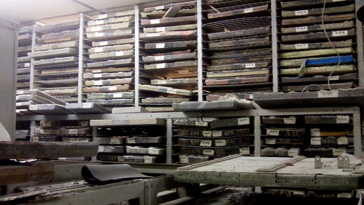 Like a wine cave or a vintage humidor, this archive contains about 3,000 numbered, carved pearwood pattern blocks used for block printing by hand. Some, despite the company's relative youth, are over 300 years old because the founder, John Perry, acquired