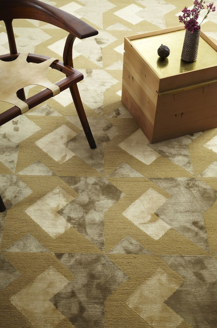 "The Commune Carpet Collection is available through <a href=""http://decorativecarpets.com"">Decorative Carpet</a>. This one is the Arrow pattern in Camel."