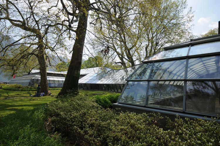 The Lario Wing at Spazio Villa Erba is constructed of glass sheets and steel. The architect describes this wing as characterized by free curved lines, in subtle harmony with the existing trees.