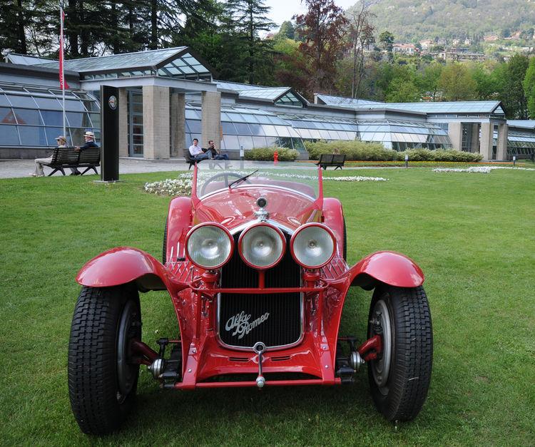 A 1930 Alfa Romeo 6C 1750 Super Sport from Museo Storico sits in front of the Cernobbio Wing at Spazio Villa Erba.