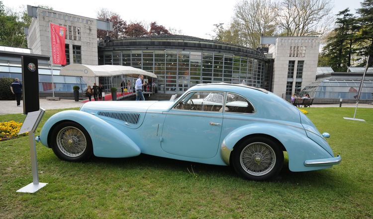 A baby blue 1938 Alfa Romeo 8C 2900B Lungo Touring Coupe.