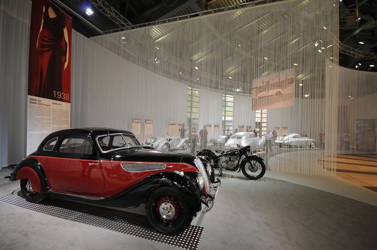 A 1938 BMW 327 Coupe, one of only 86 produced, and a R71 Motorbike represent that era's state-of-the-art-design. Conceived upon principles of aerodynamics, both are lightweight and low slung.