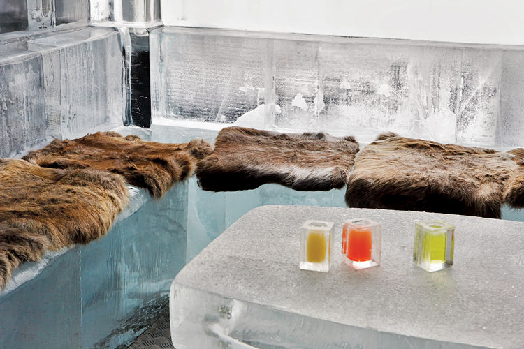 Hot seats in the oh-so-cool Absolut Icebar Copenhagen.